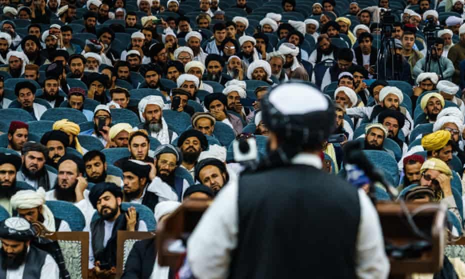 Taliban spokesman Zabihullah Mujahid addresses a preaching and guidance commission at the Loya Jirga, Kabul.