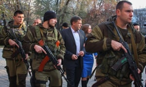 Alexander Zakharchenko (centre), current prime minister of the self-proclaimed Donetsk People's Republic in November 2014.