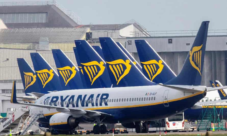 Ryanair passenger planes at Dublin Airport.