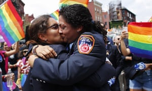 The annual Pride parade in New York in 2018 – a member of the New York City fire department receives a proposal of marriage.