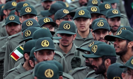 Members of the Iranian Revolutionary Guard arrive for a ceremony marking the 40th anniversary of the 1979 Islamic Revolution in February 2019.