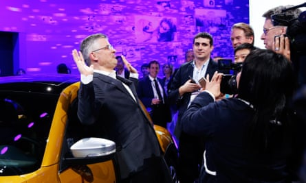 Michael Horn, president and CEO of Volkswagen America, reacting to being mobbed by the media after he apologized for the Volkswagen diesel scandal at the LA Auto Show in Los Angeles.