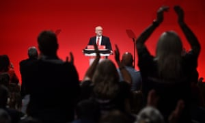 Jeremy Corbyn receives a standing ovation after his conference speech.