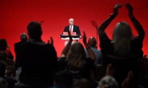 Labour party leader Jeremy Corbyn receives a standing ovation at conference