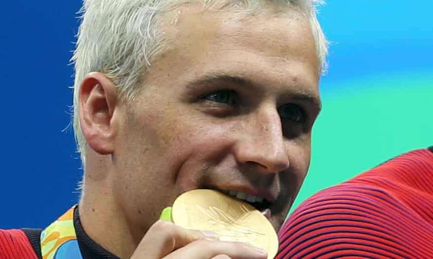 Ryan Lochte shows his taste for gold as part of the US men's 4x200m team in Rio.
