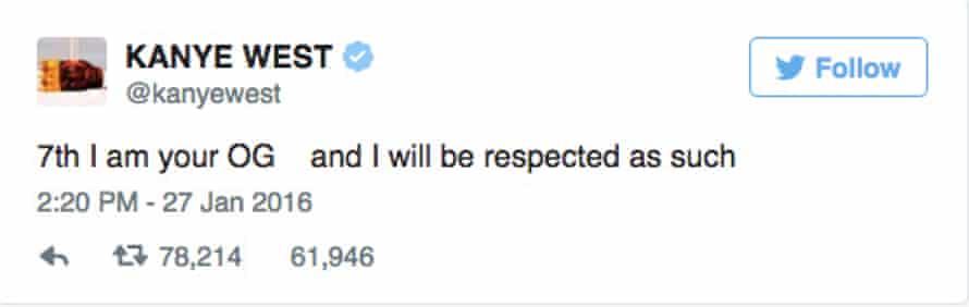 Kanye West tweets.