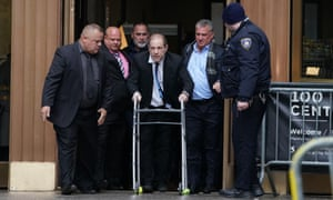 Harvey Weinstein leaves Manhattan criminal court on 11 December 2019.