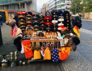 Souvenirs and merchandise for tourists at Checkpoint Charlie.