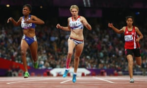 Bethany Woodward (centre) wins silver in the 200m T37 final at the 2012 London Paralympics, with Johanna Benson (left) and Neda Bahi (right).