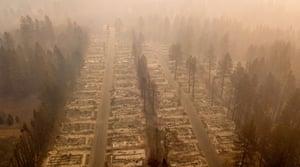 A burned neighborhood in Paradise, California.