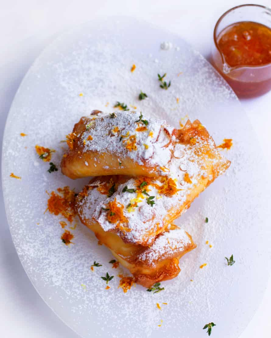 Pale gold: ricotta, lemon thyme and clementine pastries.