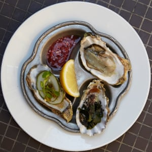A multi-coloured plate of oysters