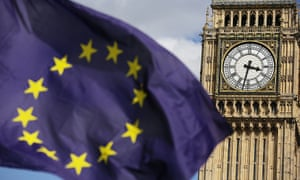 A European Union flag in front of Big Ben.