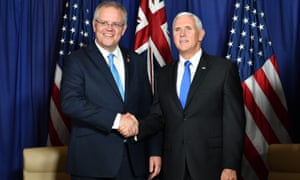 Scott Morrison shakes hands with US Vice President Mike Pence