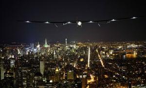 Solar Impulse 2 flying over New York city.