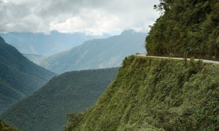 Cyclists on the North Yungas Road.