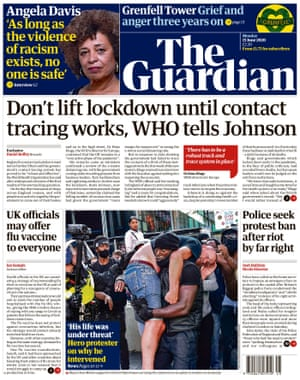 Guardian front page, Monday 15 June 2020