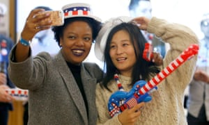 US Presidential electionGuests take a selfie at a US election party organised by the US Consulate General in Scotland at the University of Edinburgh