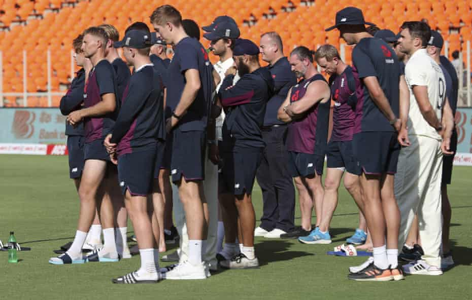 England's captain Joe Root and teammates attend the presentation ceremony.