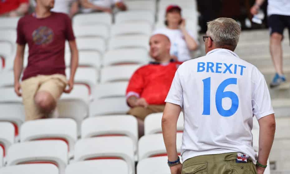 An England football fan wearing a Brexit shirt