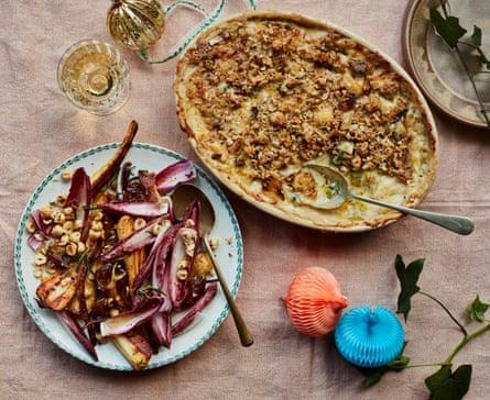 Gratin de poireaux et salade de panais de Gill Meller.
