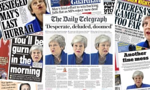 Wednesday's front pages focus on Theresa May's future in the wake of the rejection of her latest Brexit deal.