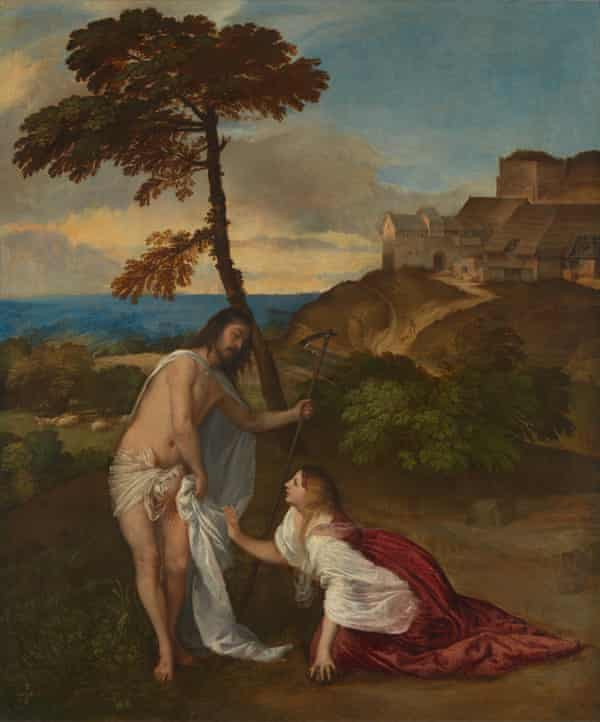 Christ gets covered up in Titian's Noli Me Tangere from 1514.