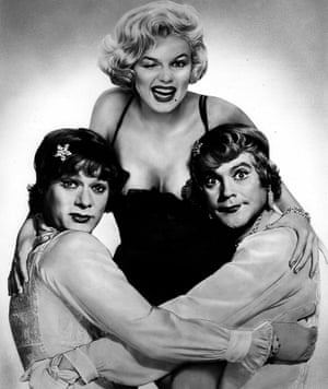 Marilyn Monroe with Tony Curtis (left) and Jack Lemmon in Some Like It Hot