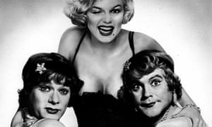 Some Like It Hot featuring Jack Lemmon (R) with co-stars Marilyn Monroe (C) and Tony Curtis (L), 1959.
