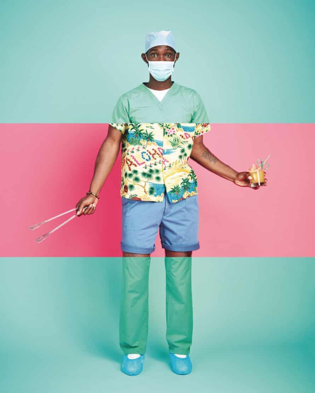 Man wearing scrubs and beach clothes