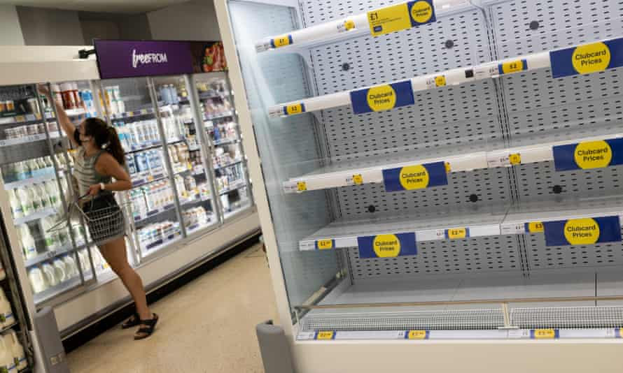Empty supermarket shelves are seen on 23 July, 2021 in London. Luke Pollard, shadow environment secretary, said food supply security is fundamental and empty shelves 'show the system is failing'.