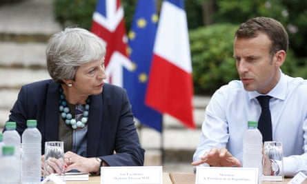 Theresa May with the French president, Emmanuel Macron, earlier this month.