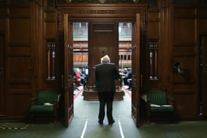 Boris Johnson about to enter the Commons chamber ahead of PMQs earlier today.