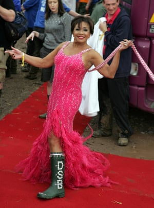 Shirley Bassey did Glastonbury glamour in 2007 as you might expect. She arrived by helicopter, in a ballgown and personalised wellies.