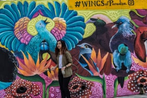 A volunteer walks in front of a mural of endangered bird species of Papua, titled 'Wings of Paradise' on a street in Kuala Lumpur, Malaysia