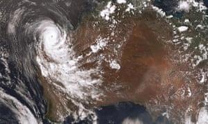 A satellite image shows Tropical Cyclone Damien as it crosses the coast of Western Australia's Pilbara region.