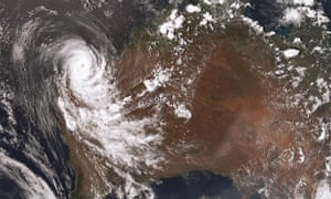map of Australia with cyclone
