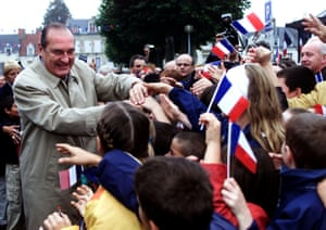 Shaking hands with residents of Saint-Amand-Montrond in central France in October 2000