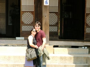 Laurie Frankel and her husband in South Korea.