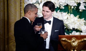 Justin Trudeau and Barack Obama at the White House state dinner reception. The pair are seen as in step on key issues.