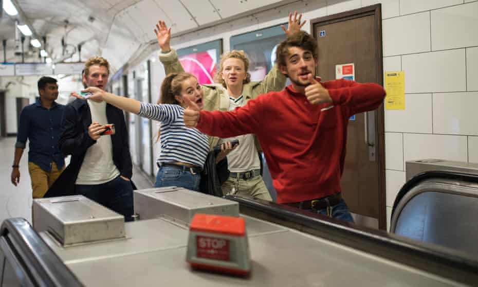 Izzy Meikle, Eros Vlahos and Charlie Rowe on the night tube