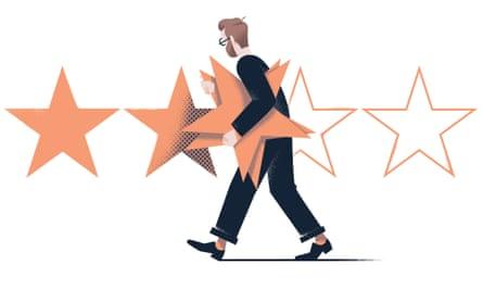 Illustration of man walking along collecting stars