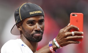 Mo Farah takes a selfie during a training session before the world championships in London