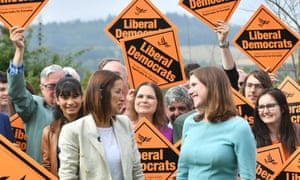 Jane Dodds and Jo Swinson with Lib Dem supporters