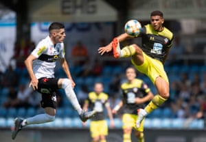 Che Adams in action during the pre-season friendly against Altach in Austria.