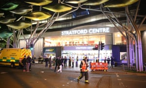 Emergency services in Stratford Centre in east London.