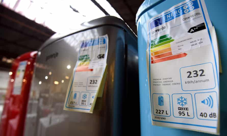 energy rating labels on refrigerators in a store in Brussels