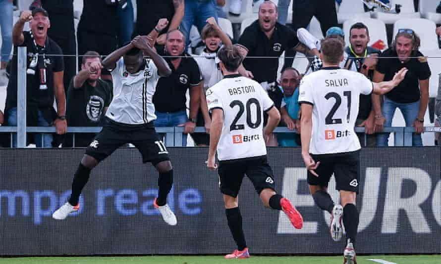 Emmanuel Gyasi copies Cristiano Ronaldo's goal celebration after scoring against Juventus.