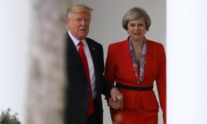 Donald Trump holds hands with Theresa May during her two-day visit to Washington which included trade talks.