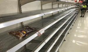 Empty shelves at Coles supermarket